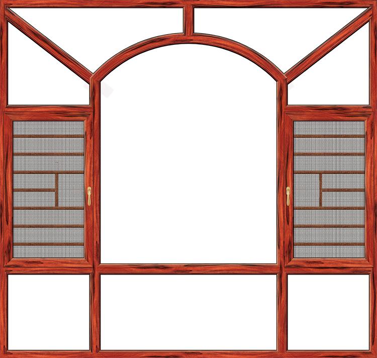 108断桥平开窗一体-红酸枝
