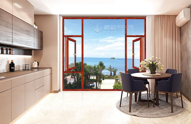 穗福门窗--90窗纱一体-红酸枝-效果图