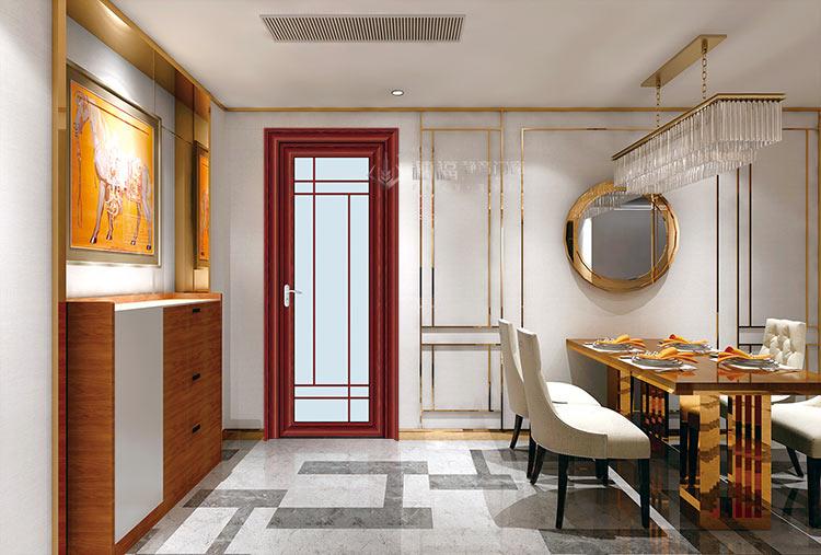 穗福门窗--80内弧平开门-澳洲红木+