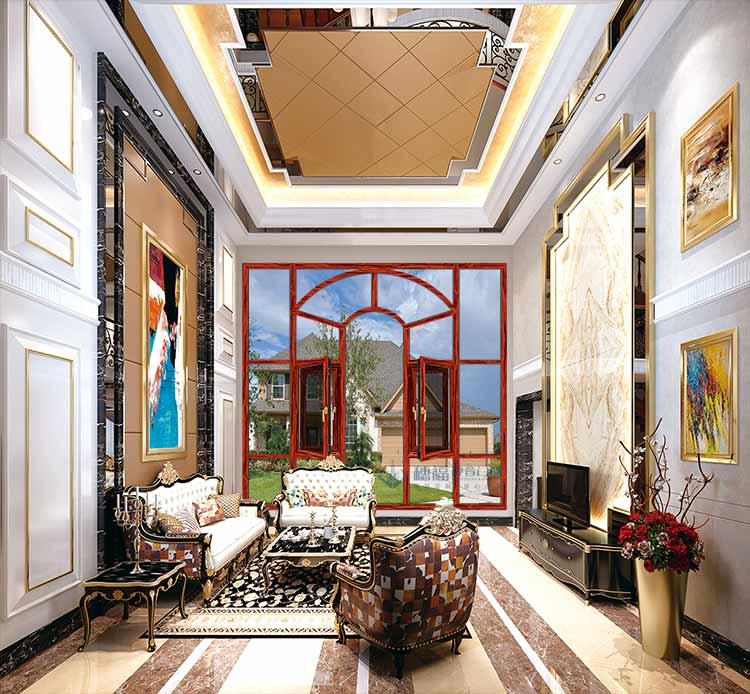 穗福门窗--140断桥窗纱一体-红酸枝-效果图